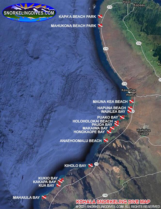 Mauna Kea Beach Snorkeling Map