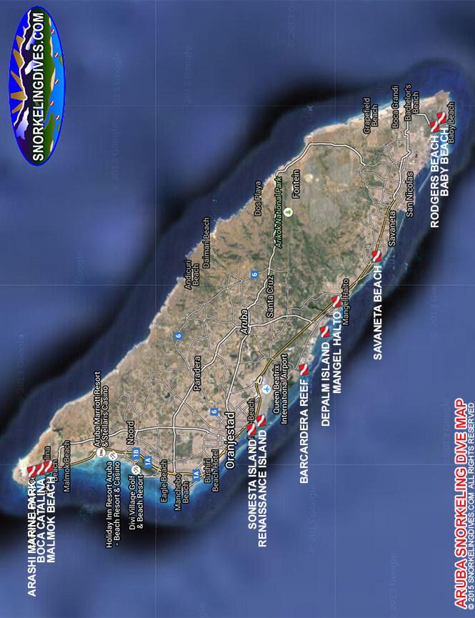 Malmok Beach Snorkeling Map
