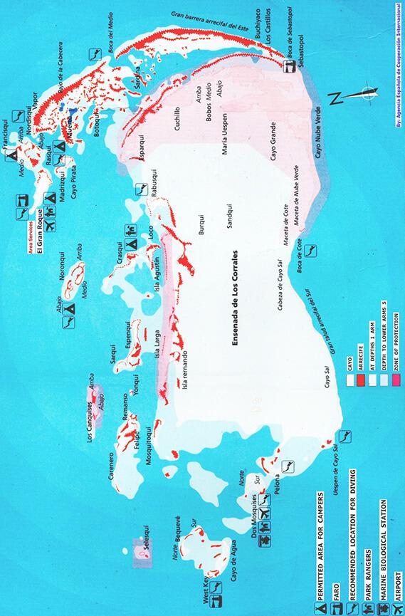 Los Roques Archipelago National Park Snorkeling Map