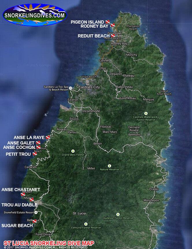 Rodney Bay Snorkeling Map