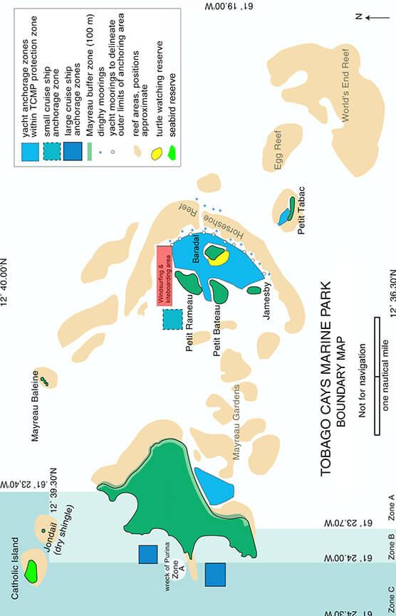 Tobago Cays Marine Park Snorkeling Map