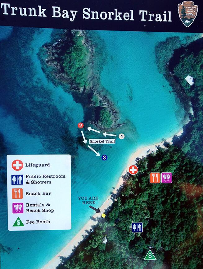 Trunk Bay Snorkeling Map