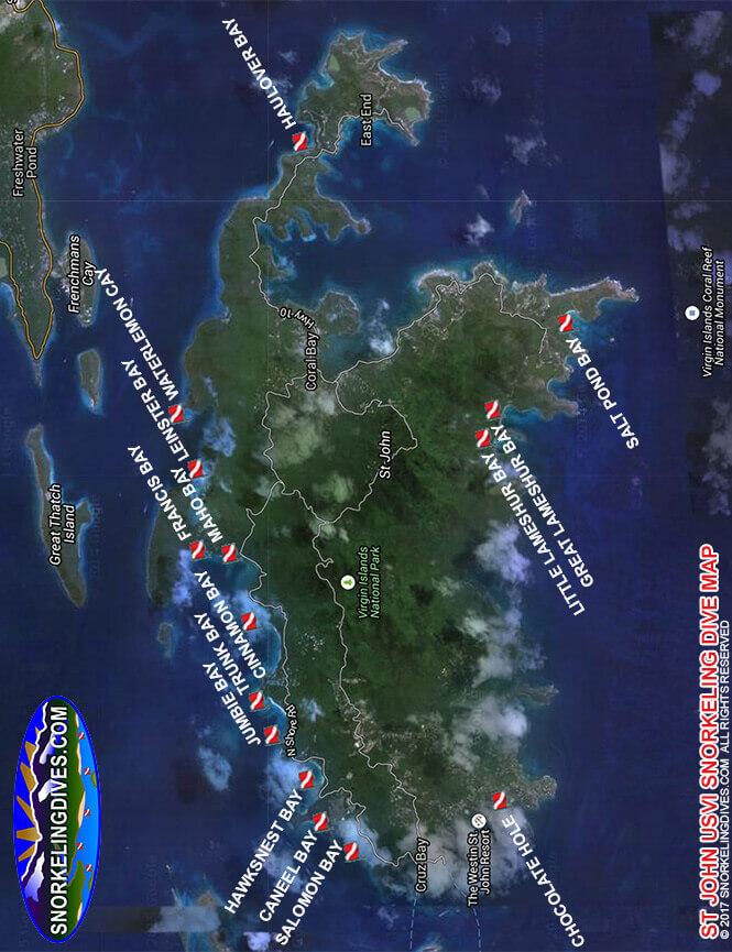 Cinnamon Bay Snorkeling Map