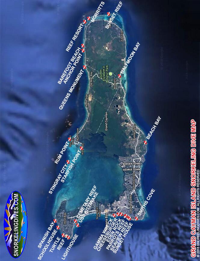 Sunset House Snorkeling Map