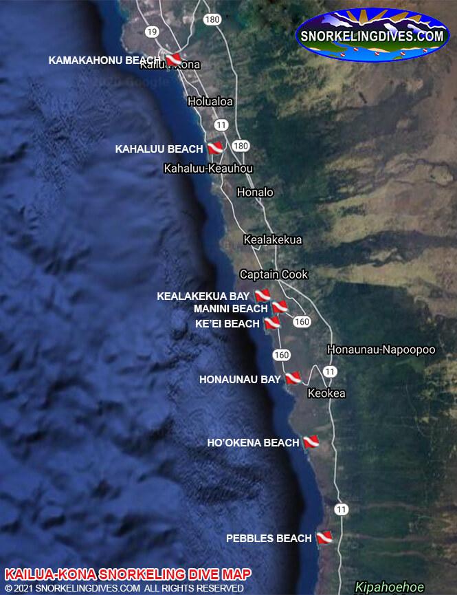 Kahalu'u Beach Park Snorkeling Map