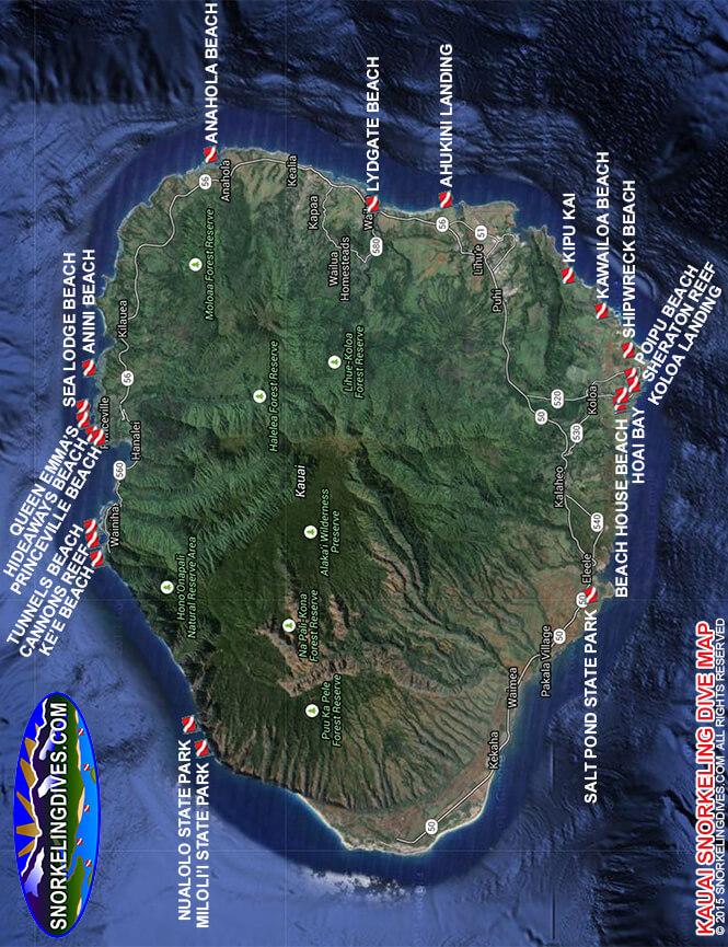 Princeville Hotel Beach Snorkeling Map