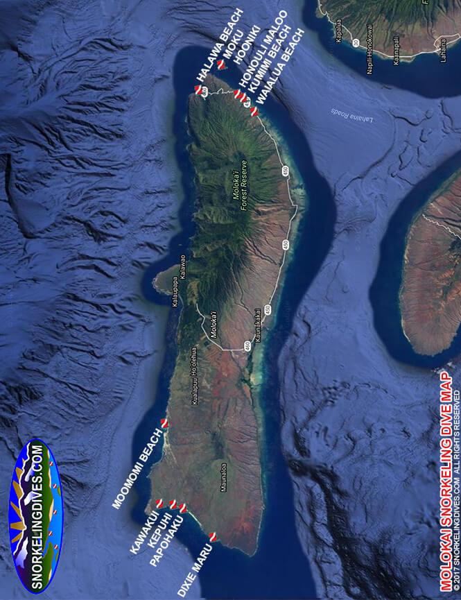 Kawakiu Beach Snorkeling Map