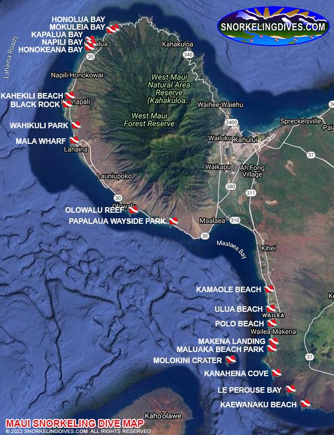 Kahekili Beach Park Snorkeling Map