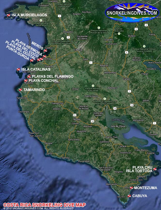 Playa del Coco Snorkeling Map