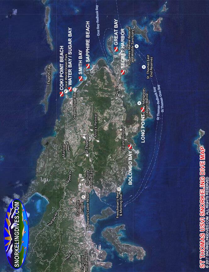 Sapphire Beach Snorkeling Map