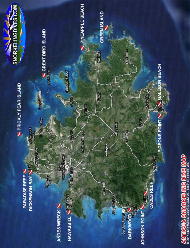 Dickenson Bay Snorkeling Map