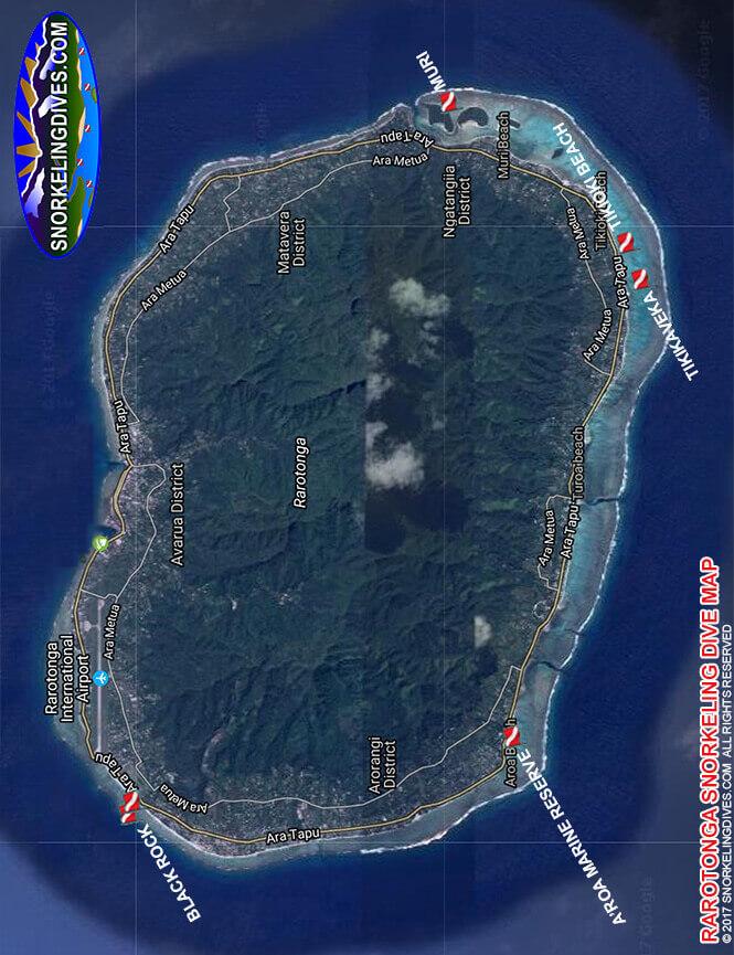 Rarotonga Island Snorkeling Map