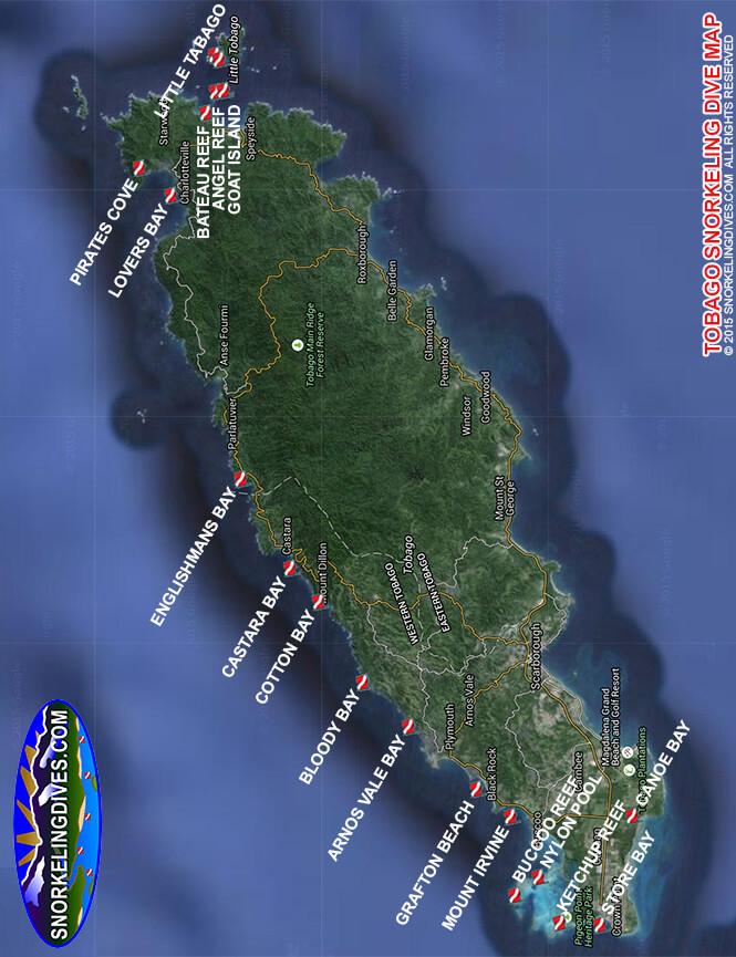 Arnos Vale Bay Snorkeling Map