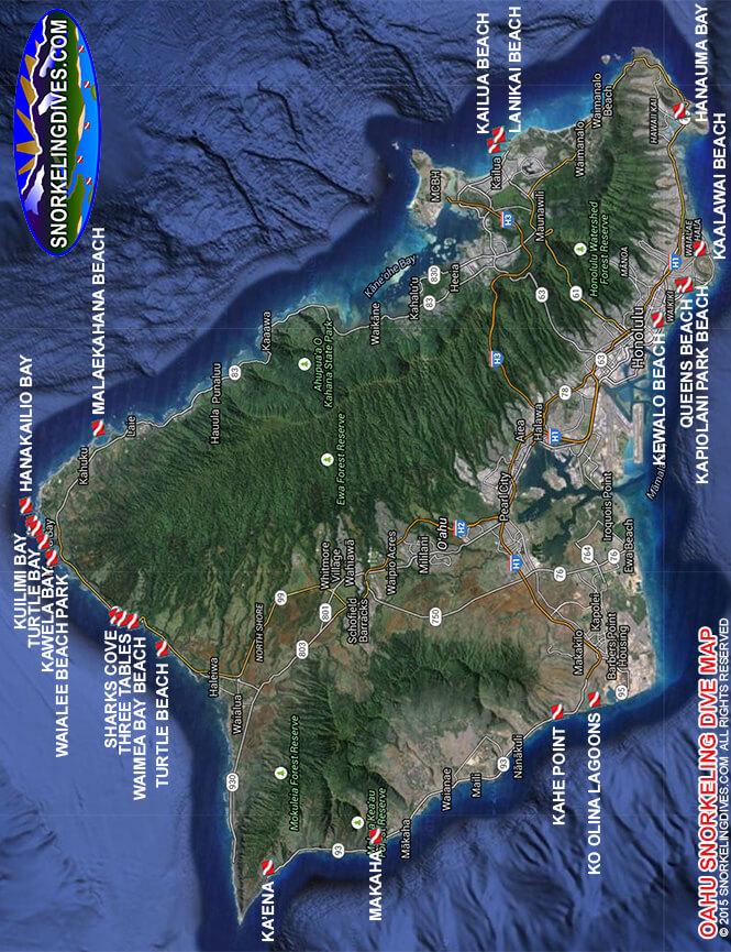 Kailua Beach Park Snorkeling Map