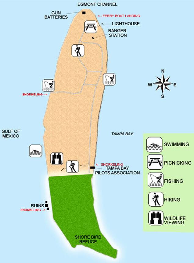 Egmont Key Snorkeling Map