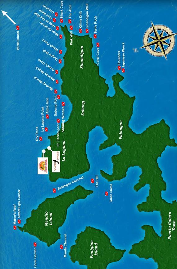 Puerto Galera Snorkeling Map