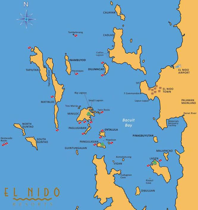 Miniloc Island Snorkeling Map