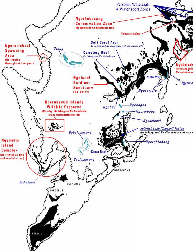 Rock Islands Snorkeling Map