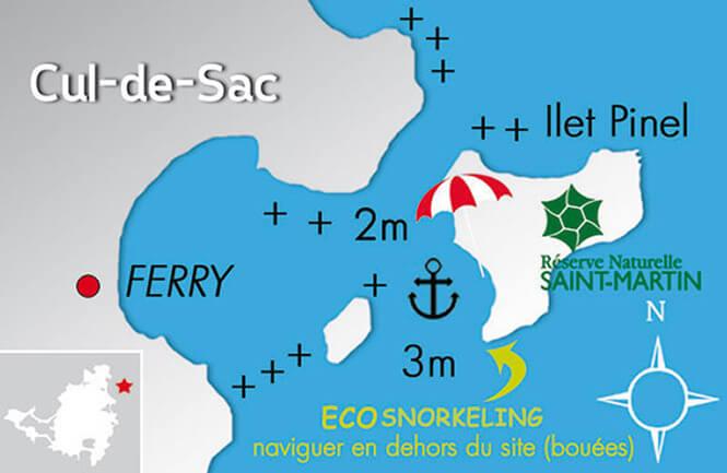 Pinel Island Snorkeling Map