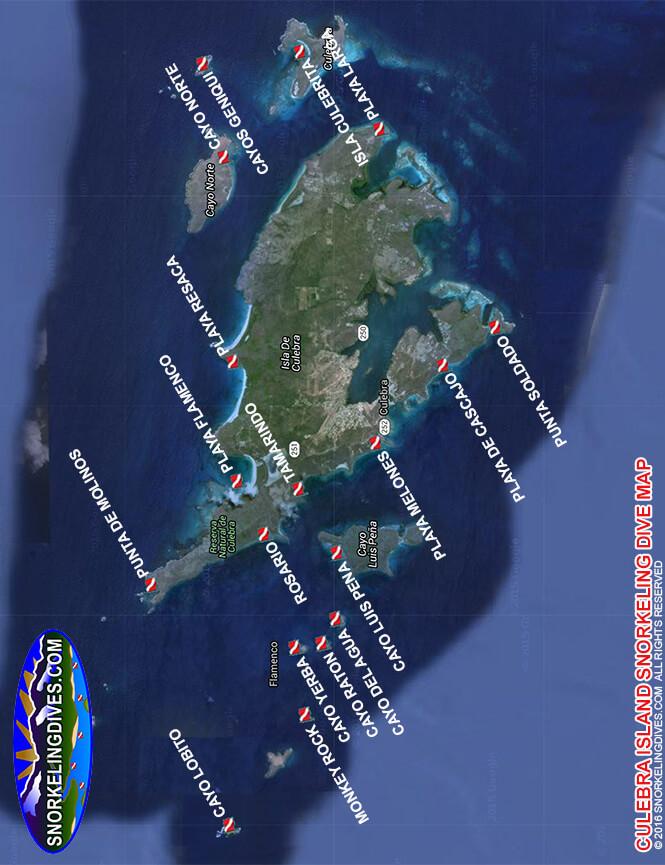 Culebra Island Snorkeling Map