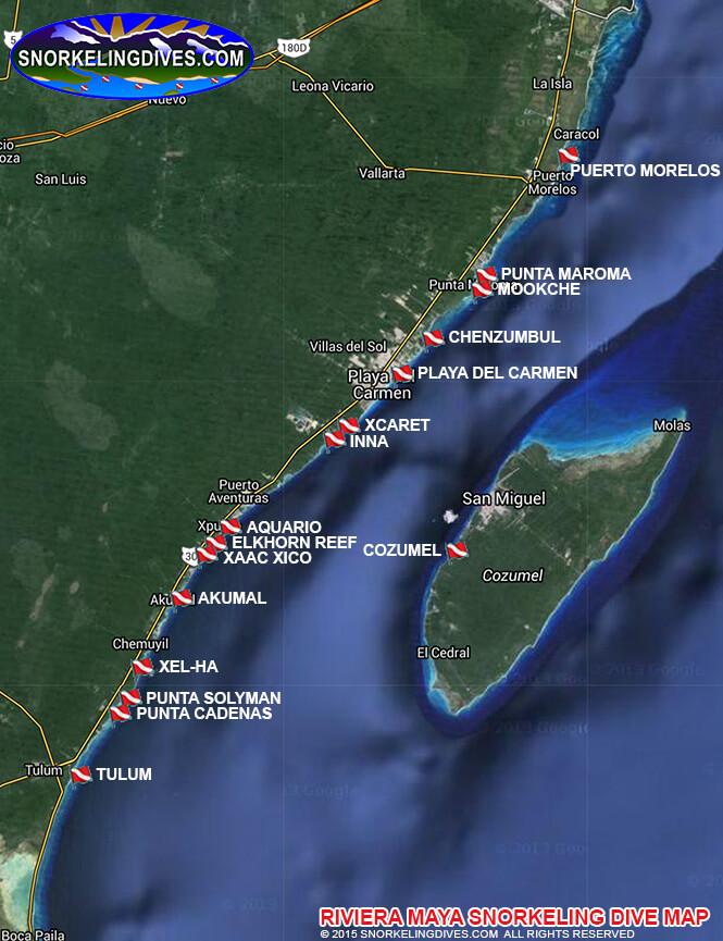 Riviera Maya Snorkeling Map