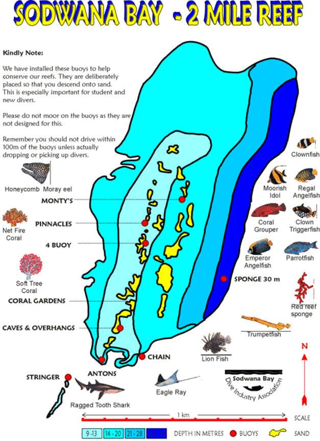 Sodwana Bay Snorkeling Map