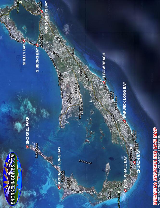 Warwick Long Bay Snorkeling Map