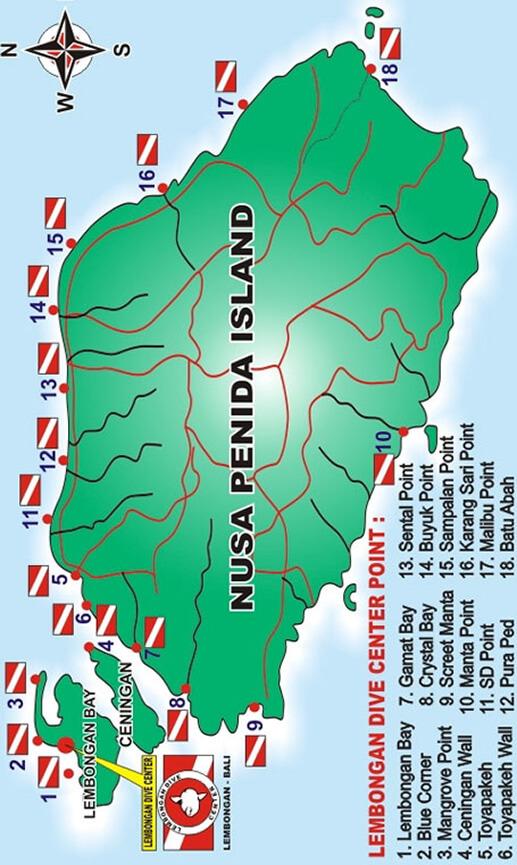 Nusa Lembongan Island Snorkeling Map