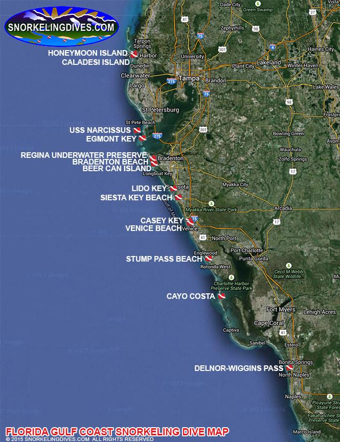 Venice Public Beach Snorkeling Map
