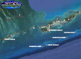 Sombrero Beach Snorkeling Map