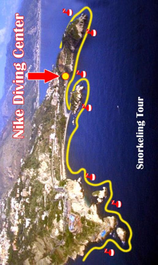 Isola Bella Bay Snorkeling Map
