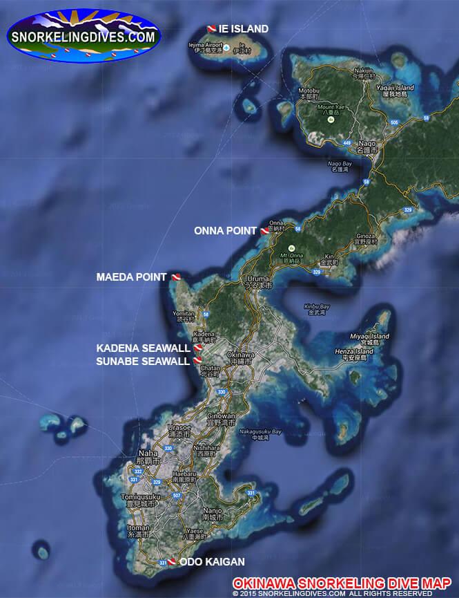 Kadena Seawall Snorkeling Map