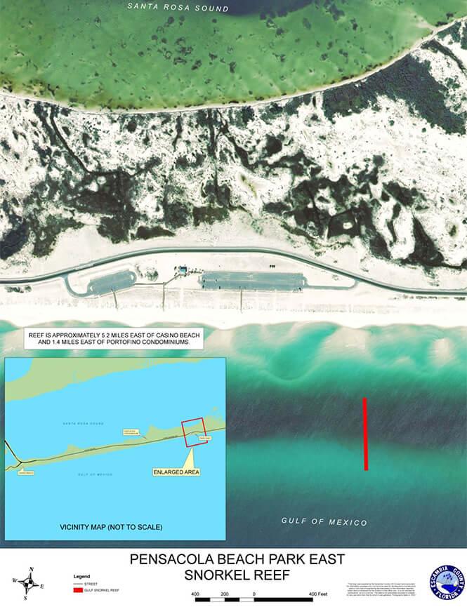 Pensacola Beach Gulf Snorkel Reef Snorkeling Map