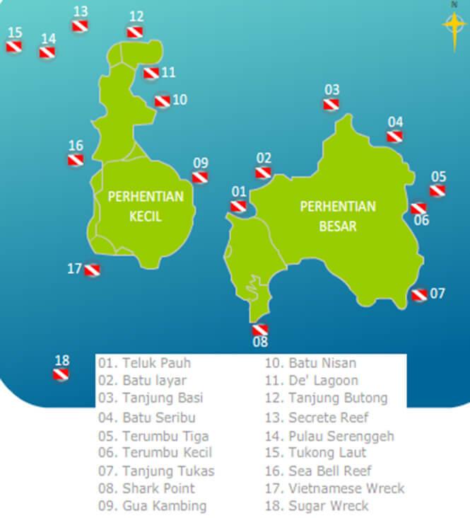 Perhentian Island Snorkeling Map