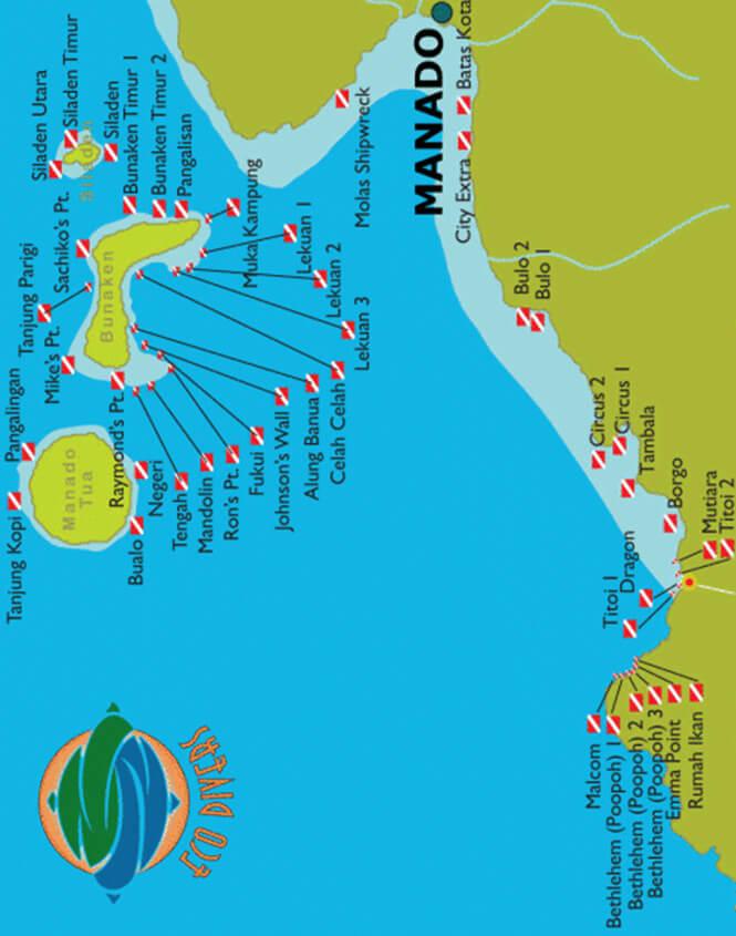 Bunaken Marine Park Snorkeling Map