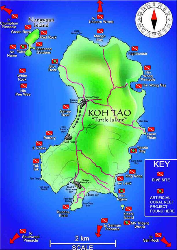 Koh Tao Island Snorkeling Map