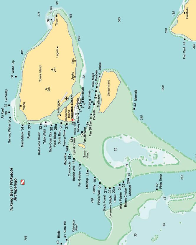 Wakatobi Snorkeling Map
