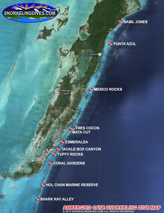 Bacalar Chico Snorkeling Map