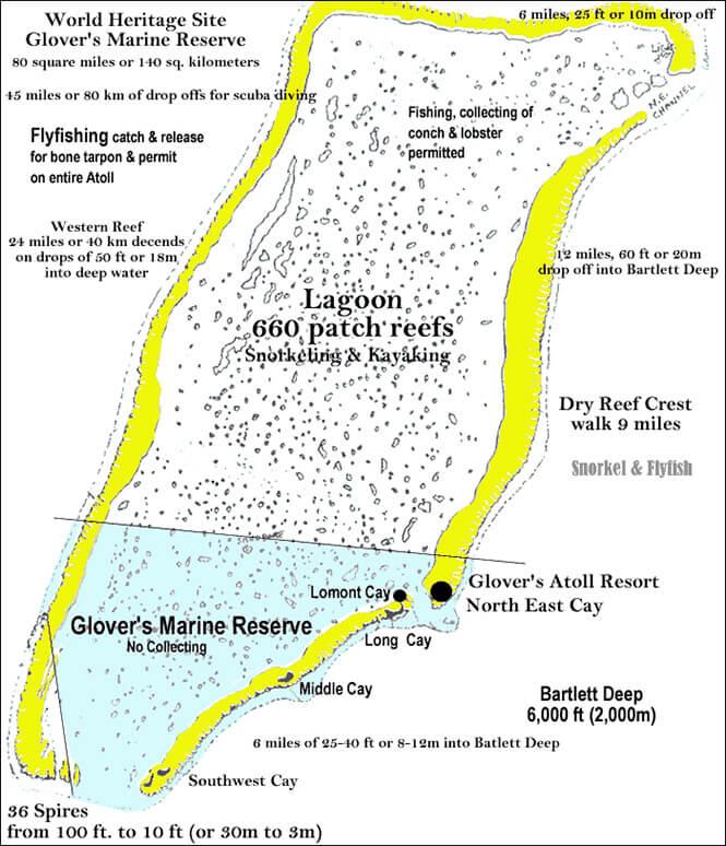Long Caye Lagoon Snorkeling Map