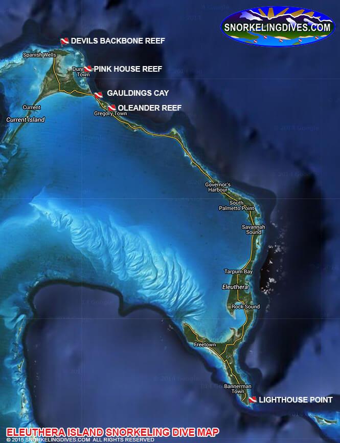 Devils Backbone Reef Snorkeling Map
