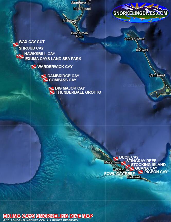Thunderball Groto Snorkeling Map