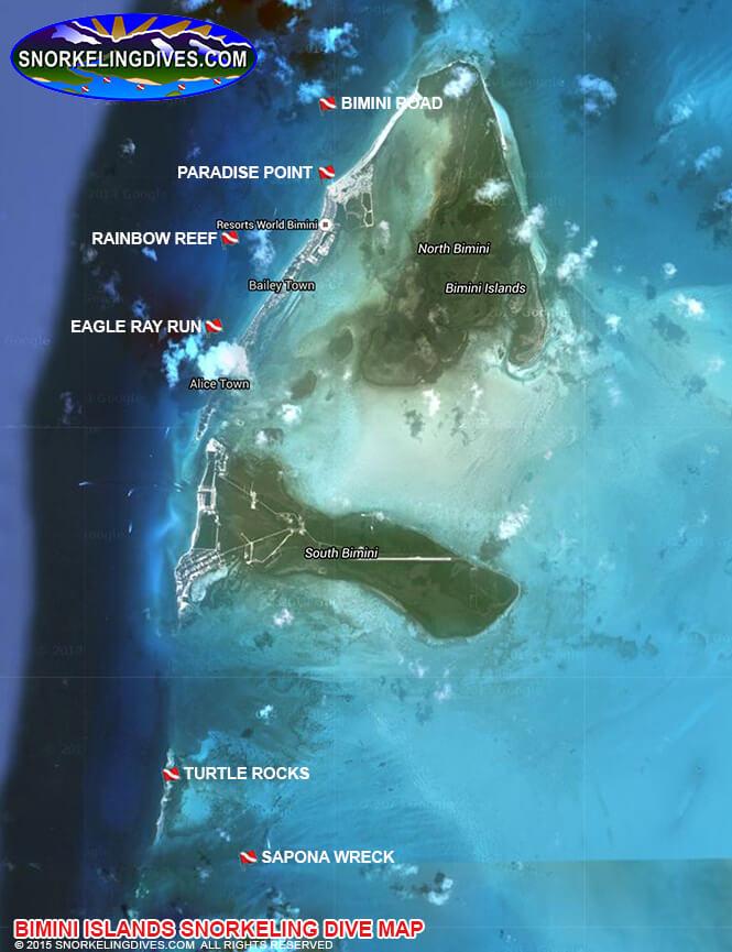 Sapona Wreck Snorkeling Map