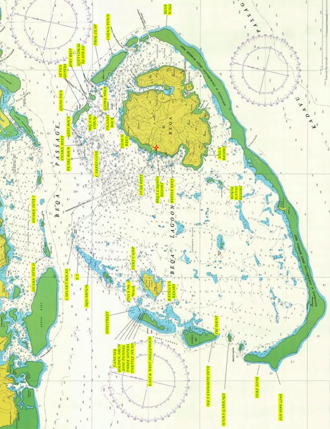 Beqa Lagoon Reef Snorkeling Map