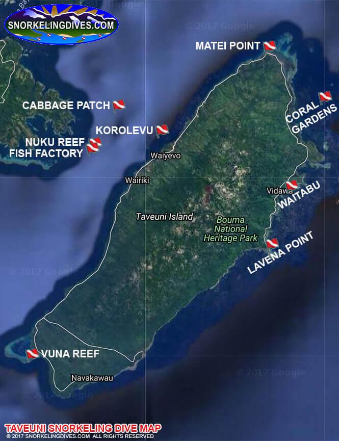 Taveuni Island Snorkeling Map