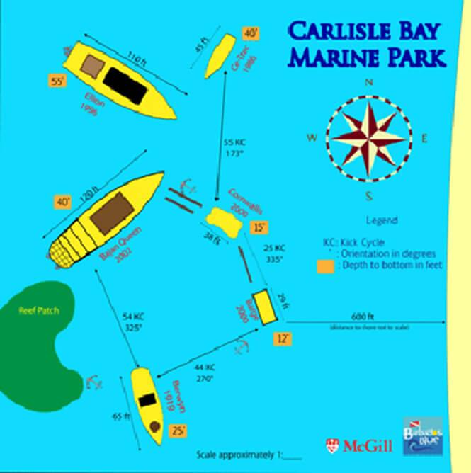Carlisle Bay Marine Park Snorkeling Map