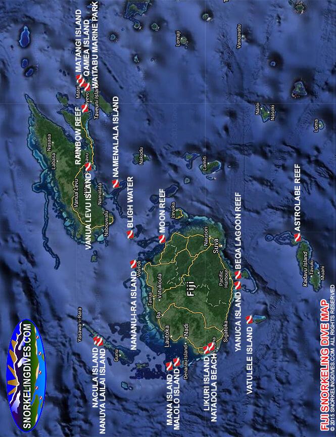 Yanuca Island Snorkeling Map