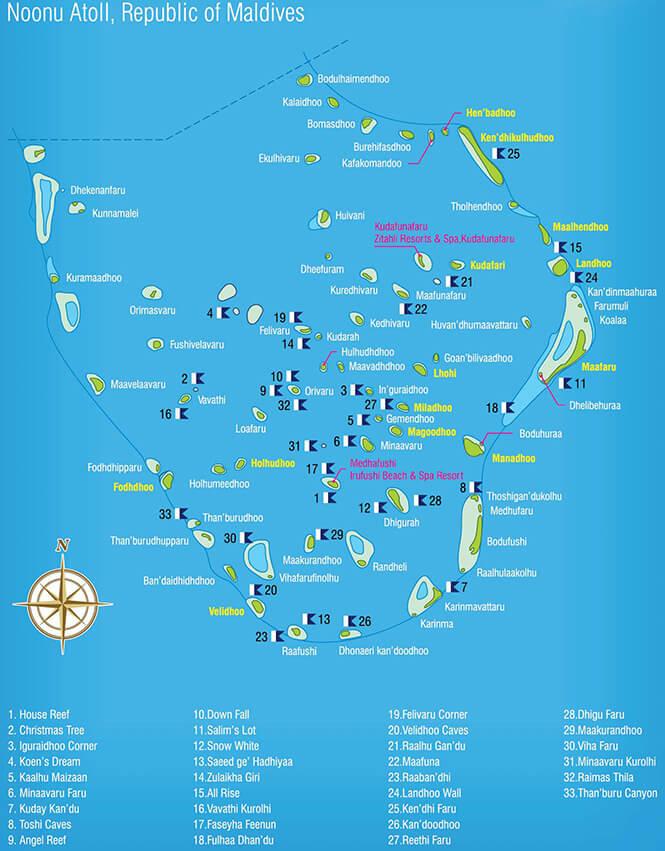 Noonu Atoll Snorkeling Map