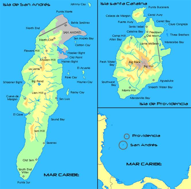 Isla Del San Andres Snorkeling Map