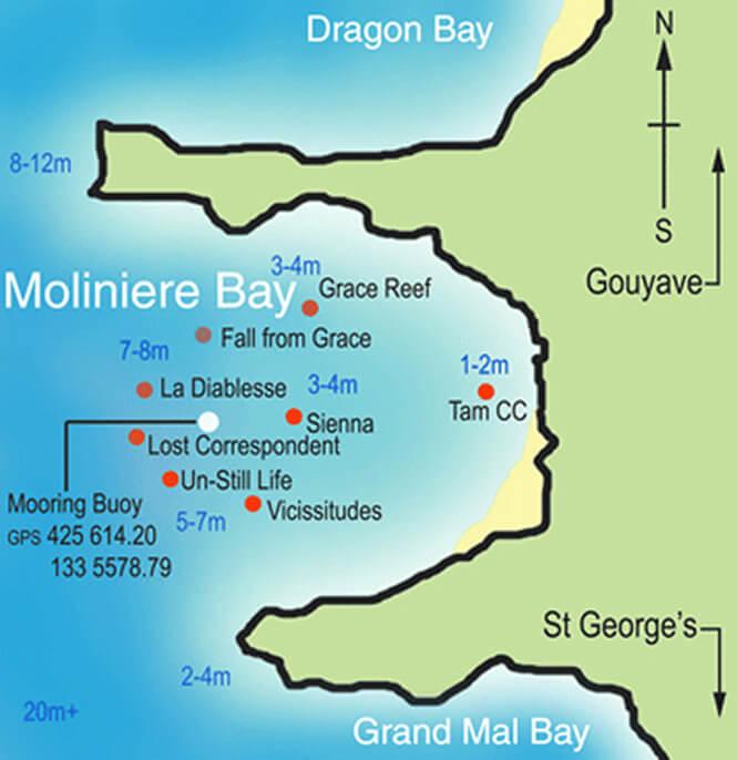 Underwater Scuplture Park Snorkeling Map