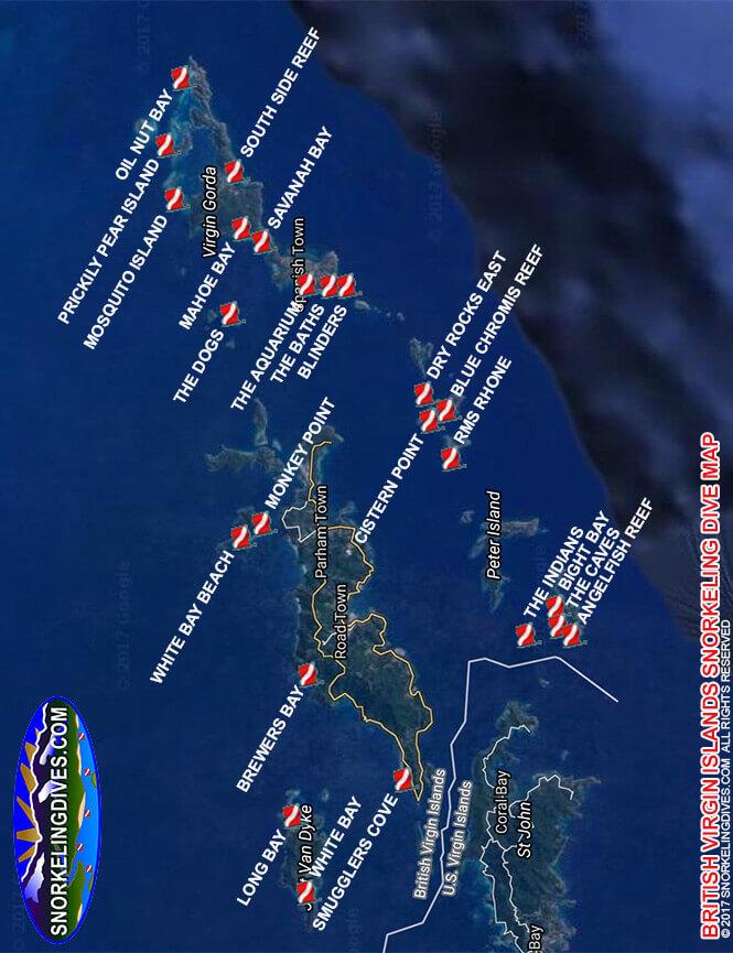 Oil Nut Bay Snorkeling Map
